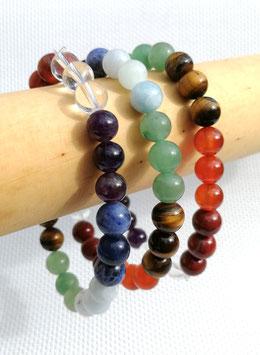 Pierres chakras (Brésil), bracelets élastiques perles 8 mm