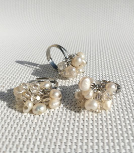 Perles, bagues ajustables (blanc)