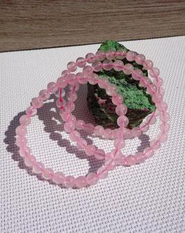Quartz rose, bracelets élastiques 6 mm