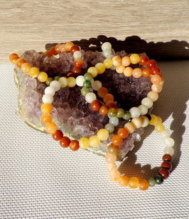 Jade multicolore, bracelets élastiques