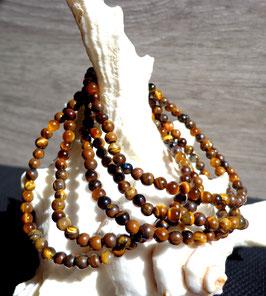 Oeil de tigre, bracelet élastique perles 4 mm