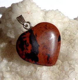 Obsidienne mahogany, pendentif coeur