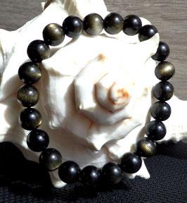 Obsidienne dorée, bracelet élastique perles 8 mm
