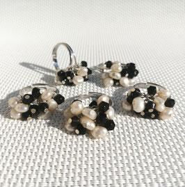 Perles, bagues ajustables (noir)