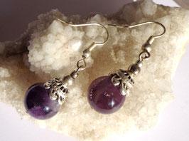 Améthyste, boucles 1 perle