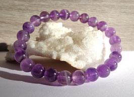 Améthyste, bracelet élastique perles 8 mm