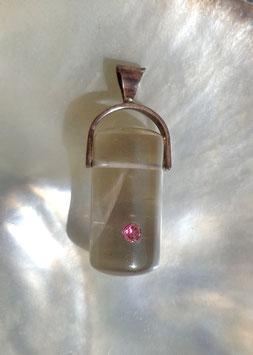 Cristal de roche et tourmaline rose, pendentif