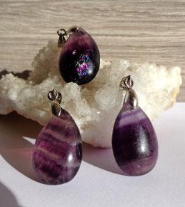 Fluorine violette, pendentifs gouttes