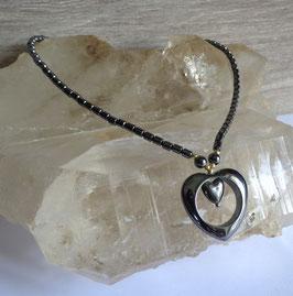 Hématite, collier coeur