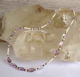Améthyste et perles fines, collier