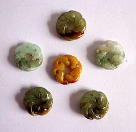 Jade, perles fleurs