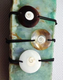 Oeil de Ste-Lucie et nacre, bracelet élastique