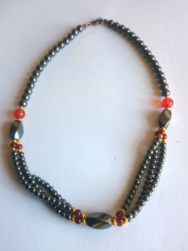 Hématite et cornaline, collier perles