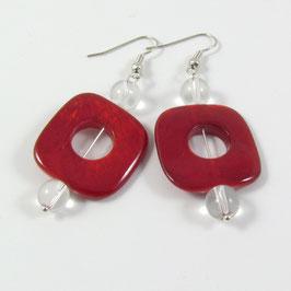 Boucles d'oreilles rouge nacré
