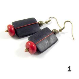 Boucles d'oreilles fil rouge
