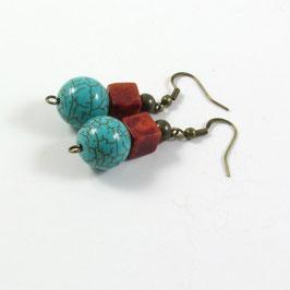 Boucles d'oreilles turquoise et corail