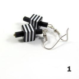 Boucles d'oreilles noir/blanc