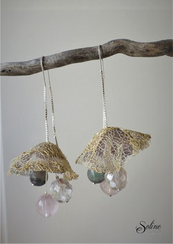 Boucles Clochette - or gris rose + quartz agate verre