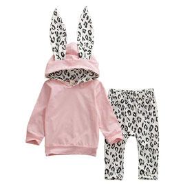 2pc Pink & Leopard Print Hoodie & Pants Set
