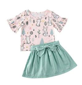 2pc Ruffle 3/4 Sleeve Shirt & Skirt Set