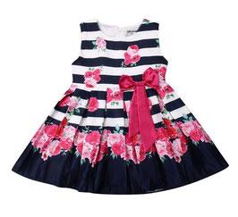 Sleeveless Navy & Floral Pleated Dress