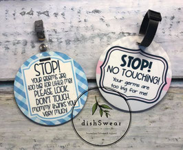 STOP Don't Touch Stroller / Baby Carrier Handle Tags