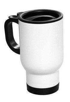 14 oz. White Stainless Steel Travel Mug
