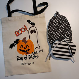 Personalized Halloween Trick or Treat Tote with Handles or Drawstring Sack
