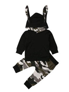 2pc Black & Camo Print Hoodie & Pants Set