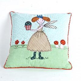 Cotton Decor Accent Pillow-Fairy Holding Flower Pot