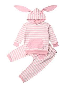 2pc Pink Striped Print Hoodie & Pants Set