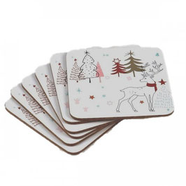 Set of 6 Winter/Holiday MDF Coasters