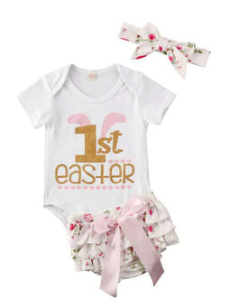 3pc 1st Easter Floral Ruffled Bloomers Set