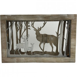 LED Wooden Box with Reindeer & Trees