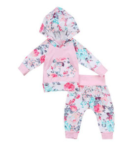 2pc Pink & Floral Hoodie & Pants Set