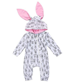 Black & White Long Sleeve Jumper with Hood & Pink Bunny Ears