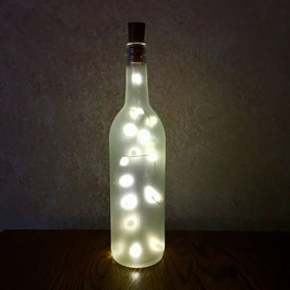 Personalized Frosted Glass Wine Bottle with Fairy Lights 750mL