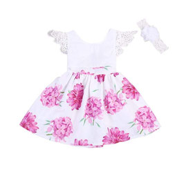White & Floral Dress with Lace Capped Sleeves & Headband