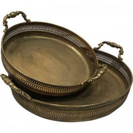 Set of 2 Decorative Round Metal Trays