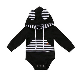 Hoodie Romper with Bunny Ears (Black & White Stripes)