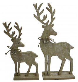 Set of 2 Wooden Reindeer on Base