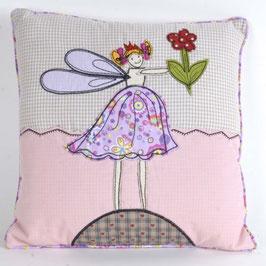 Cotton Decor Accent Pillow-Fairy Holding Flower