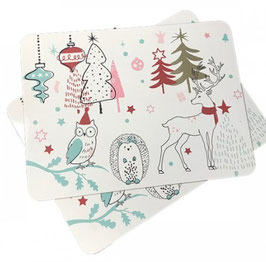 Set of 4 Winter/Holiday MDF Placemats