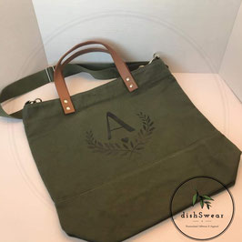 Canvas Bag with Leather Handles & Detachable Strap