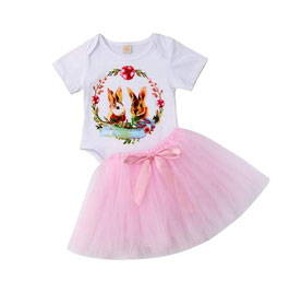 2pc Onesie & Pink Tutu Skirt Set