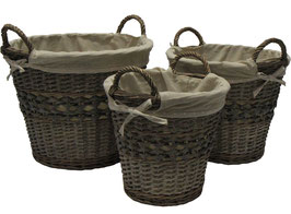 Set of 3 Willow & Woodchip Baskets with Fabric Liner