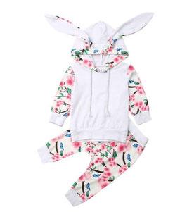 2pc White & Floral Print Hoodie & Pants Set