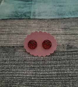 Cabochon-Ohrstecker Paar in Edelstahl mit einem Muster in rot/braun, 10mm
