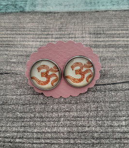 """Cabochon-Ohrstecker Paar in Edelstahl mit dem """"Om"""" Zeichen aus dem Hinduismus, 14mm"""