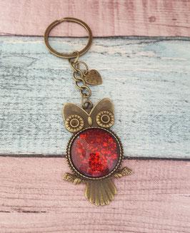Schlüsselanhänger Eule in bronze mit rotem Glitzer